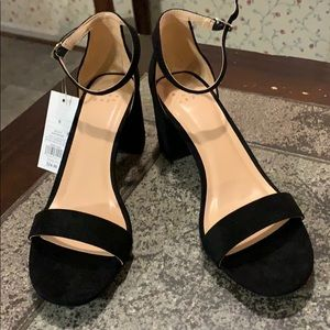 Black Faux Suede Ankle Strap sandals size 9.5